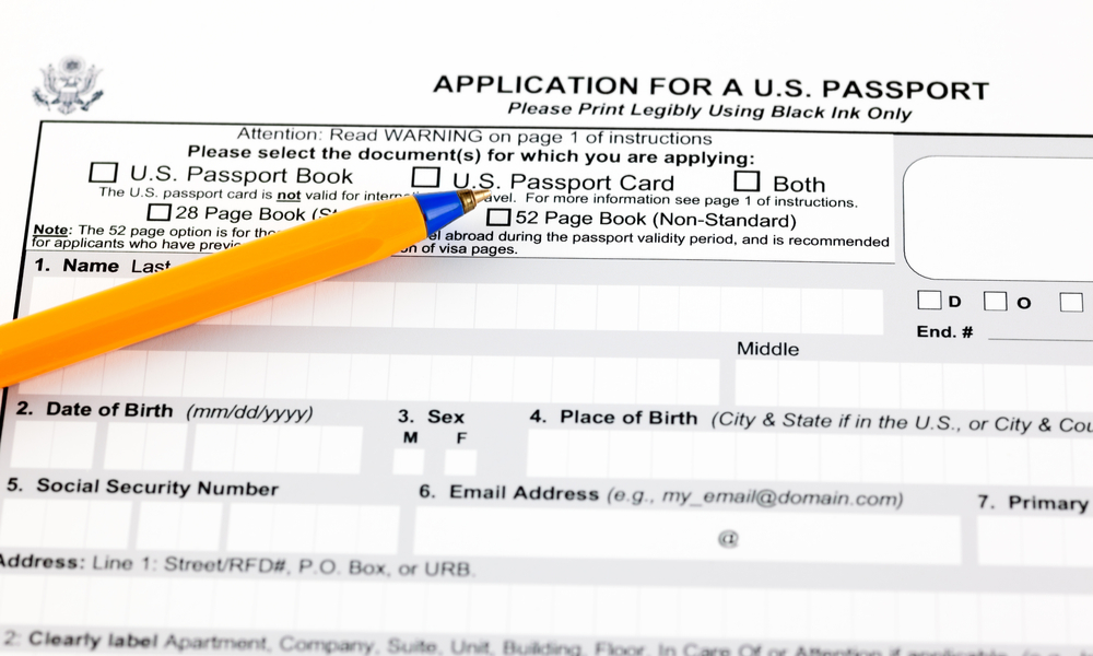 Application for a U.S. passport form with ballpoint pen