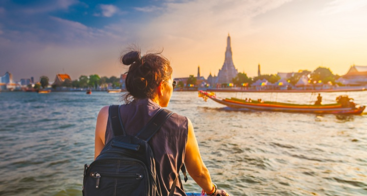 woman in a boat in Thailand
