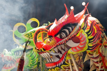 closeup head dancing dragon china
