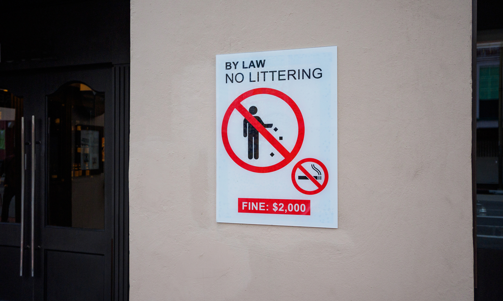 Fine by law series, Sign No littering in Singapore