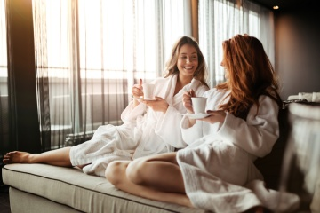 two women relating at a spa