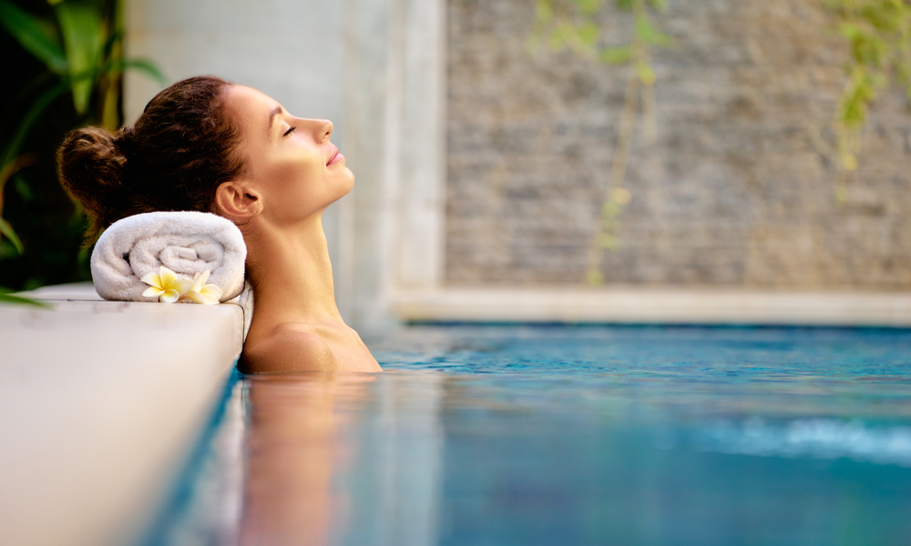 woman in pool at spa