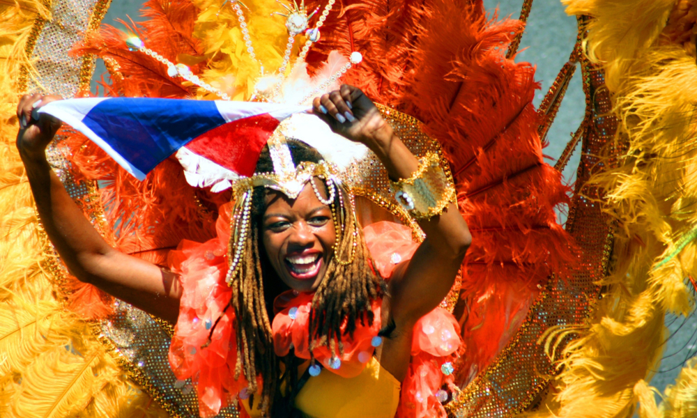 Woman dressed in costume for Caribbean festivals