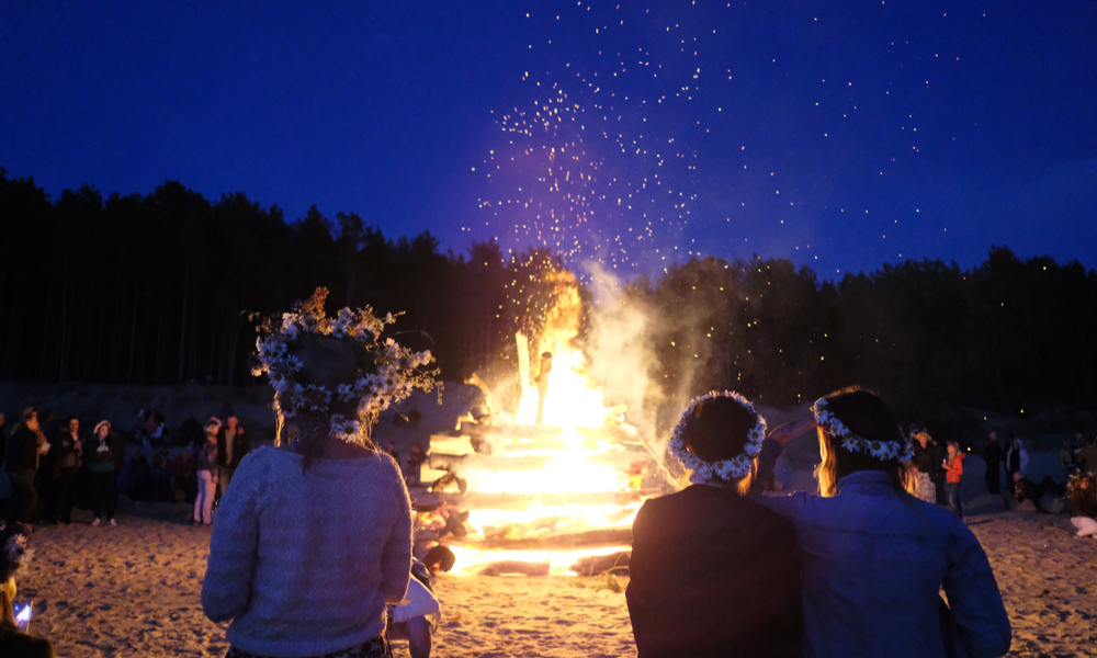 A large fire at the celebration of the summer solstice on the shore of the Gulf of Riga. Latvia