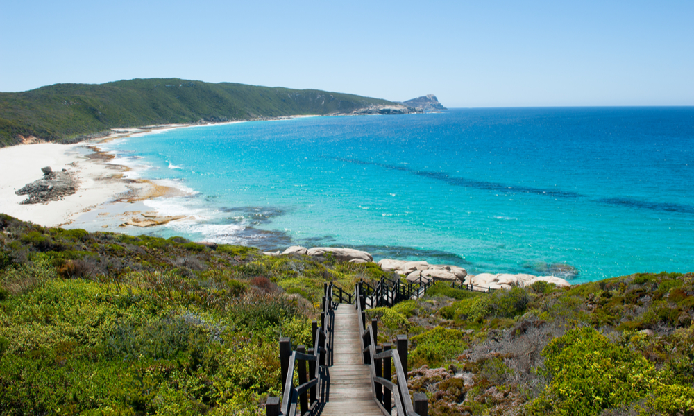 Scenic panoramic view of cliff coast and Cable Beach at Torndirrup National Park, Albany, Western Australia