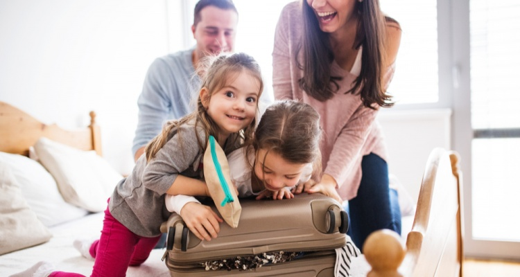 family packing together