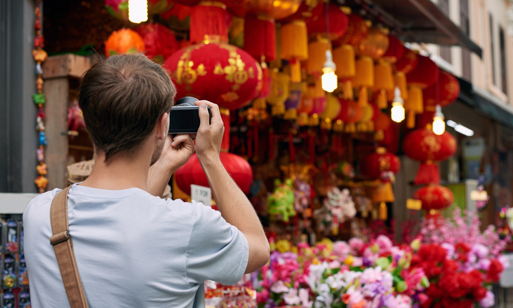 man taking a photo in china