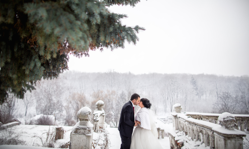 5 Dreamy Winter Wedding Destinations: Winter wedding, young couple kissing near the castle and snowy pine tree