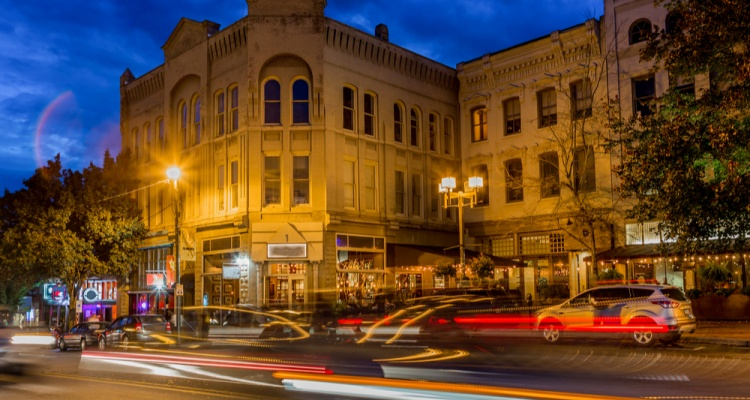 Unusual things to do in Asheville NC: Abstract light flares highlight downtown Asheville