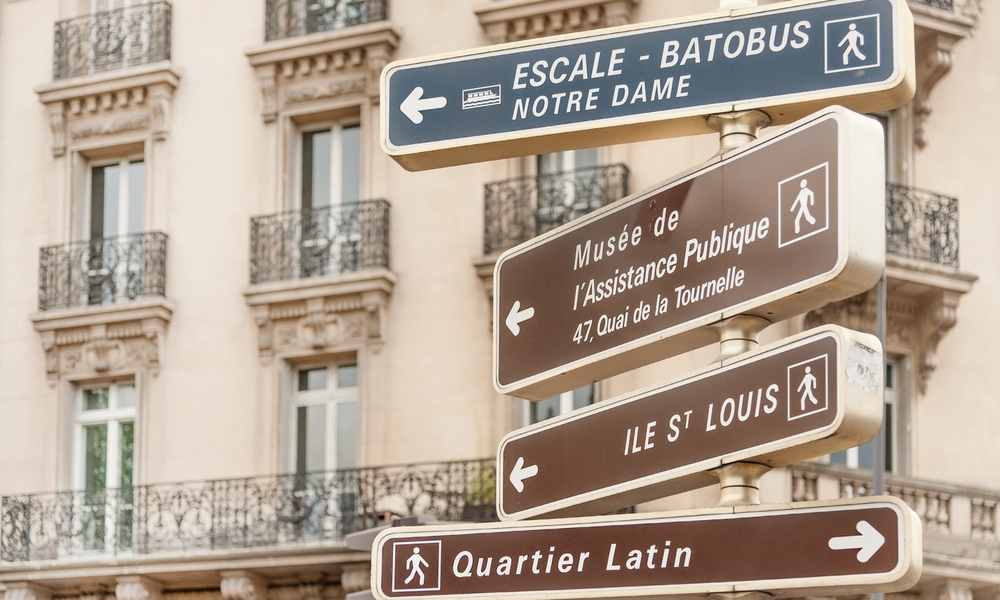How to do Paris on a budget: Directional signpost to Parisian landmarks in central Paris