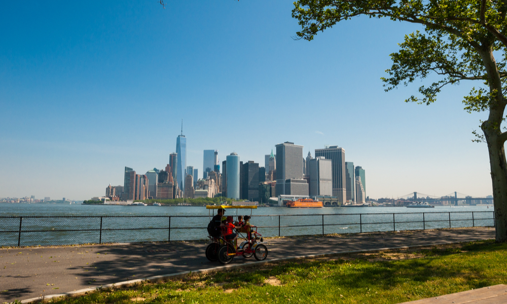 things to do in new york with kids:family cycling on Governors Island