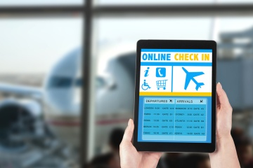 On tablet using benefits of online check-in