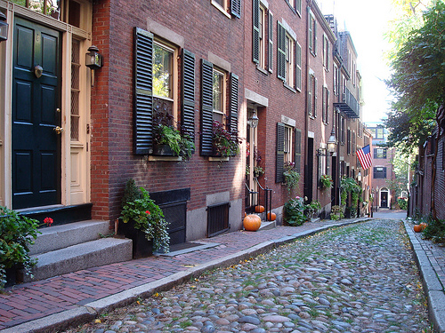 Historic Acorn Street in Boston, MA.