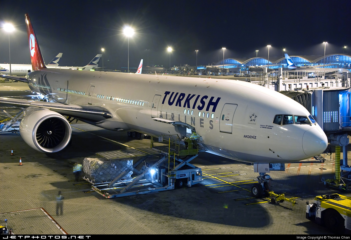 Turkish Airlines Boeing 777 plane parked in airport (Image: JetPhotos.net)