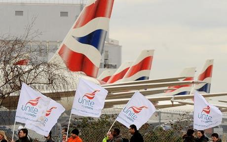 Unite members on strike outside British Airways offices in London
