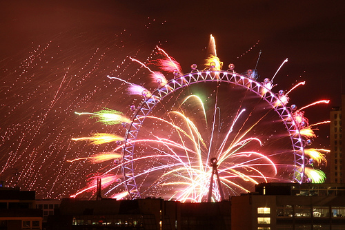 Fireworks at the London Eye (CC Flickr photo credit: flyingsuitcase)