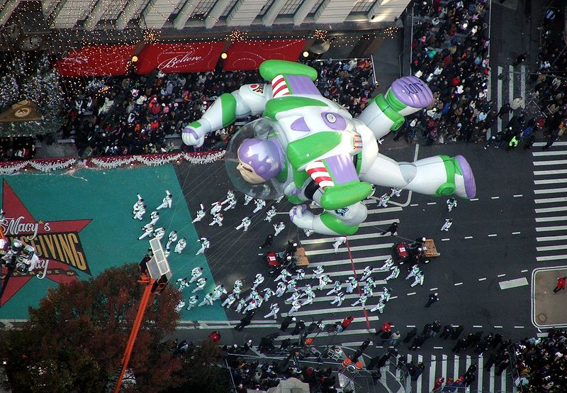 Buzz Lightyear travels down the parade route in 2009 (Image:  Wikimedia)