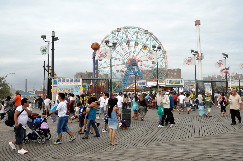 Coney Island boardwalk in Brooklyn, New York