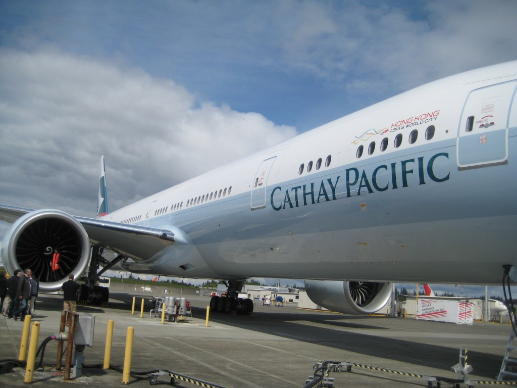 Cathay Pacific Boeing 777 ready for take off