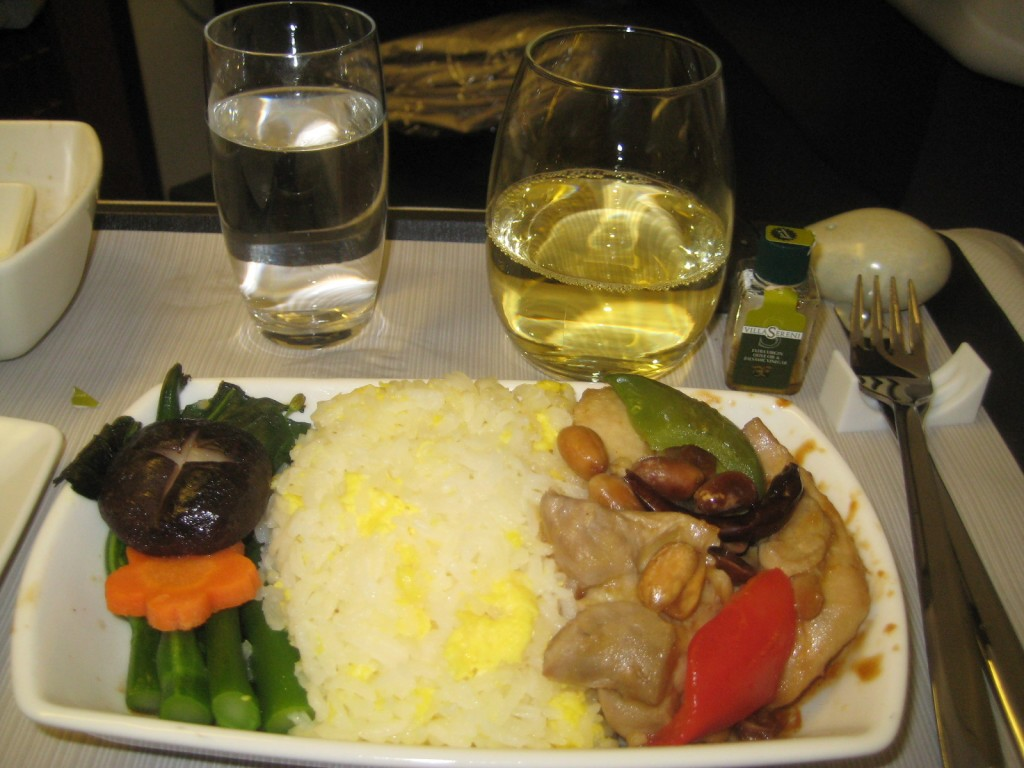 Kung po chicken on Cathay Pacific business class flight