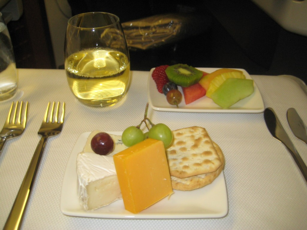 Cheese and fruite platter on Cathay Pacific