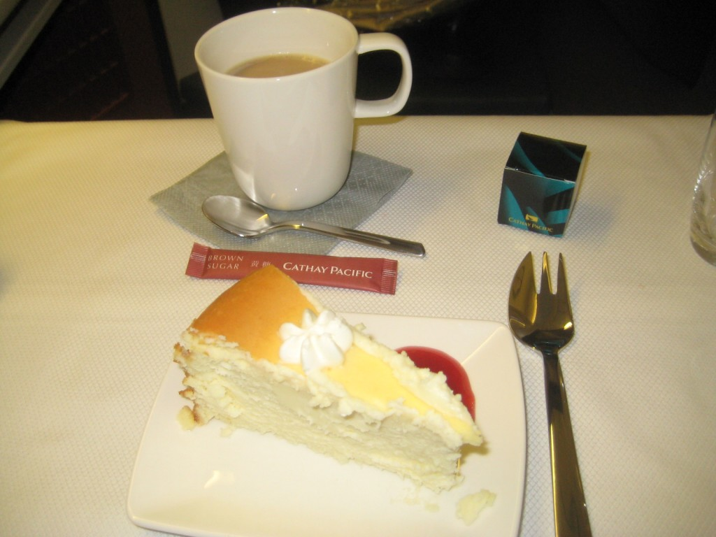 Coffee and cheesecake on Cathay Pacific