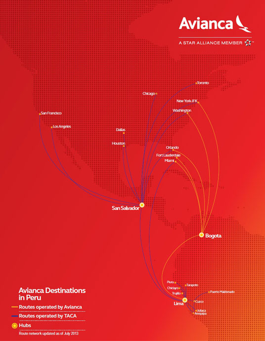 Avianca Airlines Route