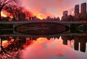 NYC: Sunset at the Rowing Pond in Central Park
