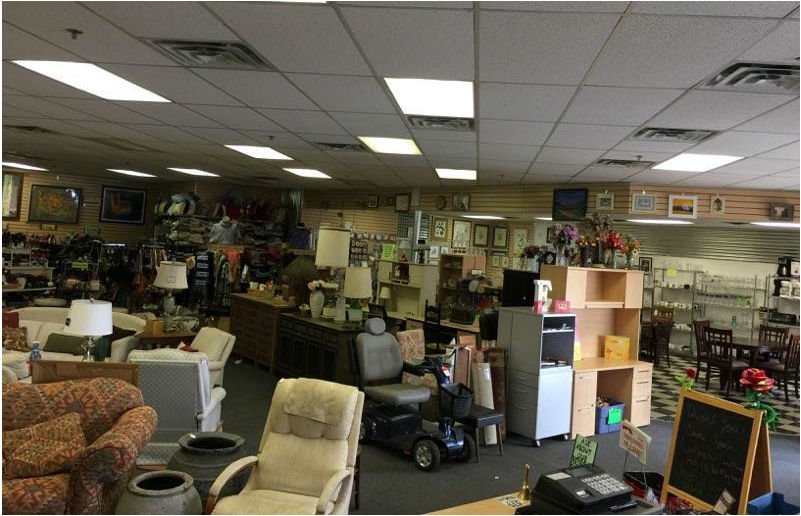 Inside layout of a thrift shop