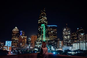 Girl looking at skyline