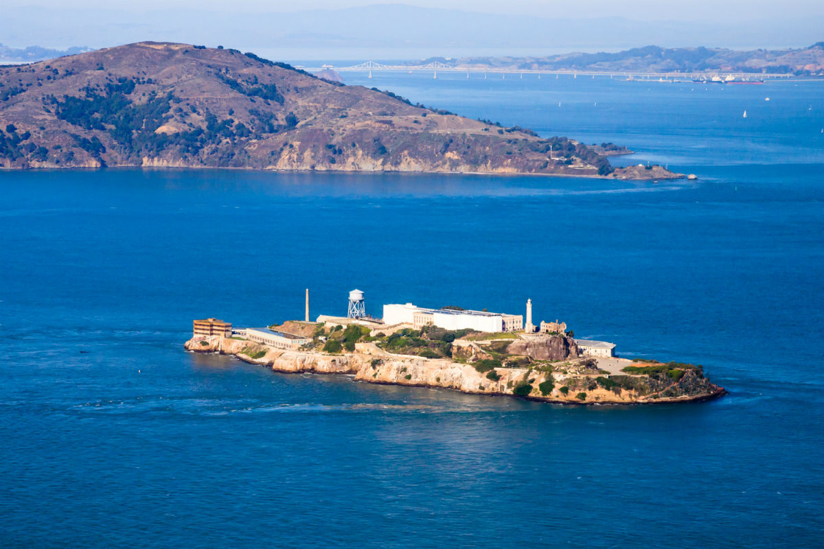Alcatraz with Angel Island in background