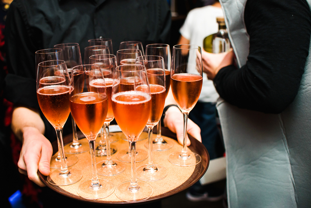 pink champagne on trays
