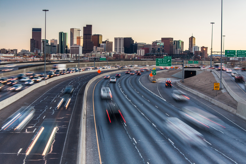 Rush hour traffic on I-25 looking towards downtown Denver, Colorado, USA