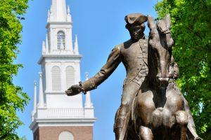 Paul Revere Statue and Old North Church in Boston, Massachusetts