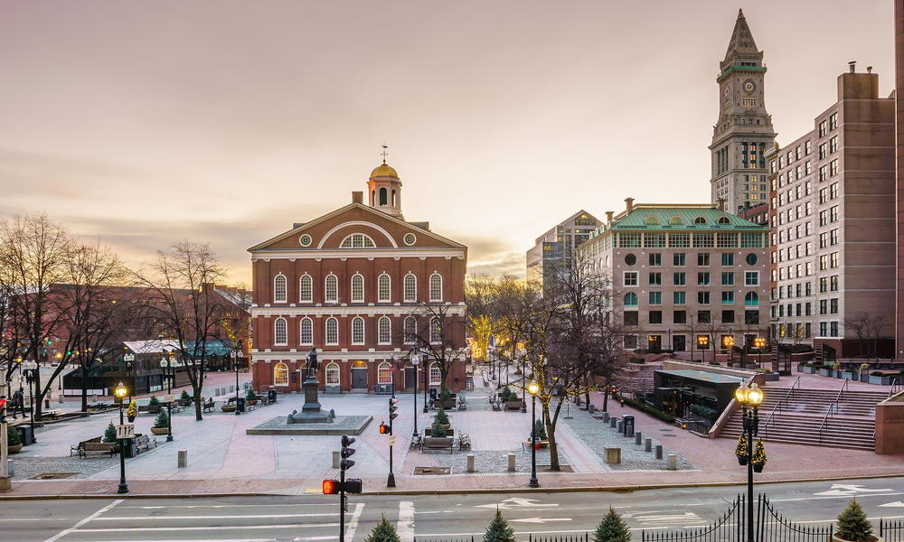Historical building Faneuil Hall and Quincy market in Boston USA