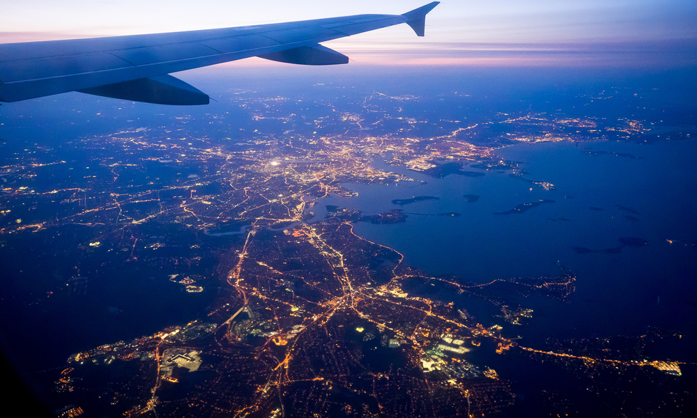 View on Greater Boston Area from a plane approaching Logan Airport.